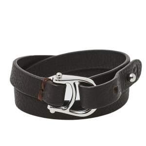 Aigner Dark Brown Leather Double Tour Logo Bracelet