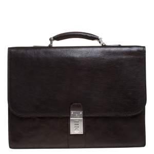Aigner Dark Brown Leather Top Briefcase