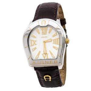 Aigner Silver Two-Tone Stainless Steel Verona A48000 Women's Wristwatch 39 mm