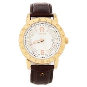 Aigner Silver Gold Plated Stainless Steel Leather Cortina A26000 Men's Wristwatch 42 mm
