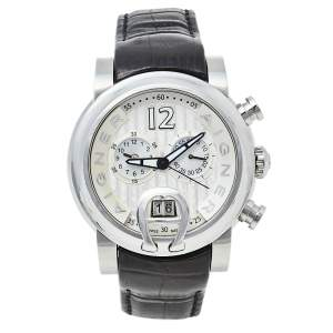 Aigner Silver Stainless Steel & Leather Bari A37500 Men's Wristwatch 44 mm