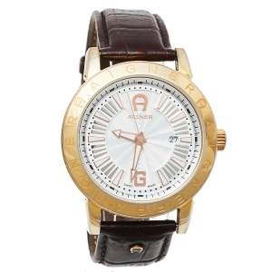 Aigner Silver Gold Tone Stainless Steel Leather Cortina A26000 Men's Wristwatch 42 mm