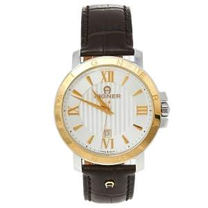 Aigner Silver Two-Tone Stainless Steel Leather Triento A09000 Men's Wristwatch 42 mm