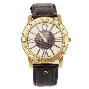 Aigner Brown Gold Tone Stainless Steel and Leather Murano A35100 Men's Wristwatch 40MM
