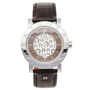 Aigner Brown Stainless Steel Leather Cortina A26002 Men's Wristwatch 41 mm