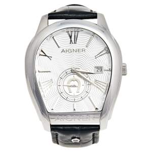 Aigner Silver Stainless Steel Leather Milano A131100 Men's Wristwatch 42 mm