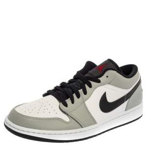 Air Jordan White /Grey Leather Air Jordan 1 Low Sneakers Size 46