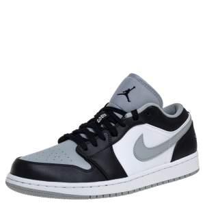 Air Jordan Black/Smoke Grey Leather Air Jordan 1 Retro Low Sneakers Size 43