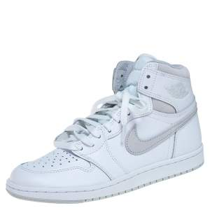 Air Jordan 1 White/Grey Leather And Suede Retro High 85 Sneakers Size 41
