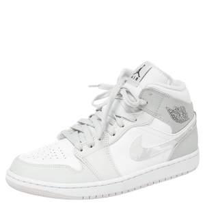 حذاء رياضى أير جوردان 1 ميد كامو جلد أبيض / رمادى