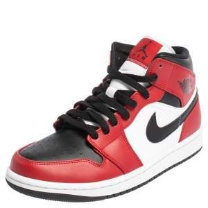 Air Jordan Multicolor Leather Air Jordan 1 Mid Chicago Black Toe Sneakers Size 42