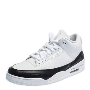 Air Jordan 3 Retro White/Black Leather Fragment Sneakers Size 47