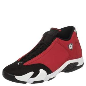 Air Jordan 14 Retro Synthetic Suede and Suede Gym Red Toro Sneakers Size 46