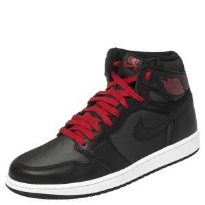 Nike Black/Red Leather And Fabric Air Jordan 1 Retro High Top Sneakers Size 42.5