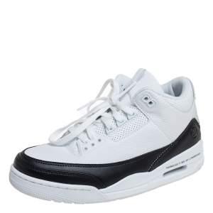 Air Jordan White/Black Leather Air Jordan 3 Retro Fragment Low Top Sneakers Size 41