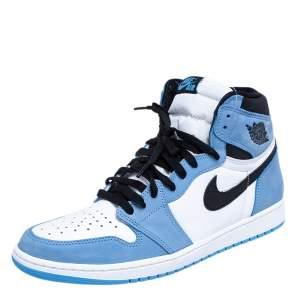 Nike Blue/White Leather Air Jordan 1 Retro University High Top Sneakers Size 45.5