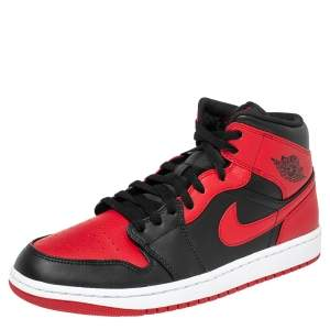 Air Jordans 1 Mid Red/Black Leather High Top Sneakers Size 44.5