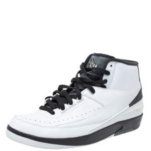 Air Jordan 2 White/Black Leather And Rubber Wing It Lace Up Sneakers Size 42.5