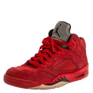 Air Jordan Red Suede Boys' 5 Retro Sneakers Size 42.5