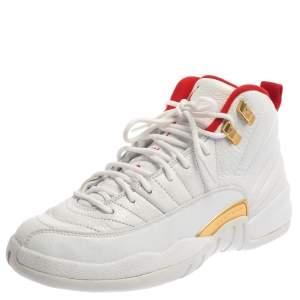 Air Jordan White Leather 12 Retro Fiba High Top Sneakers Size 40