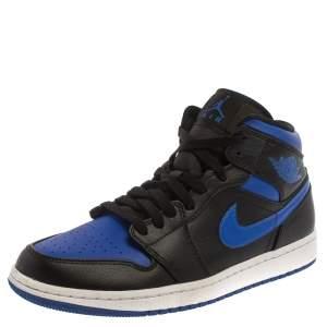 Air Jordan Black/Blue Leather And Nylon Air Jordan 1 Retro Royal Toe High Top Sneakers Size 43
