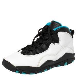 Air Jordan White/Powder Blue Leather 10 Retro Sneakers Size 40