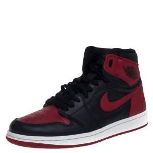 Nike Black/Red Leather Air Jordan 1 Retro High Top Sneakers Size 42.5