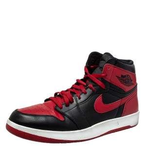 """Nike Air Jordans 1 Retro Bred """"Banned"""" Red/Black Leather High Top  Sneaker Size 45.5"""
