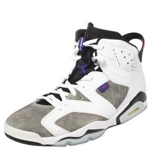 Air Jordan White/Grey Leather And Suede Jordan 6 Retro Flight Nostalgia Sneakers Size 47.5
