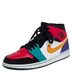 Air Jordan Multicolor Leather Air Jordan 1 Mid High Toe Sneakers Size 44.5