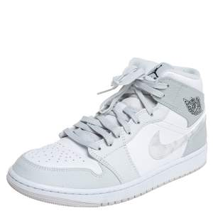 Air Jordan 1 Mid Grey/White Leather Camo High Top Sneakers Size 43