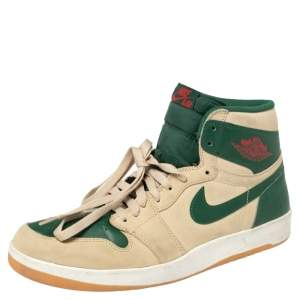 Nike Beige/Green Leather And Suede Air Jordan 1 Retro High Top Sneakers Size 43