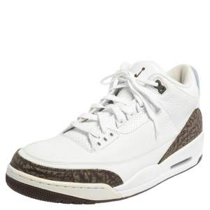 Air Jordan 3 Retro White Leather Mocha Sneakers Size 46