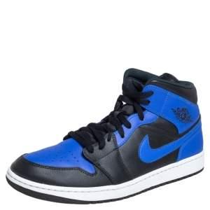 حذاء رياضي إير جوردان 1 ميد قماش وجلد أسود / أزرق مقاس 47.5