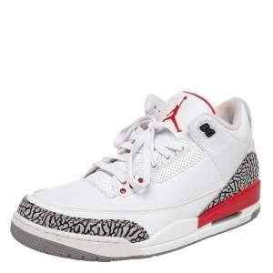 Jordan White Leather Air Jordan 3 Retro Hall of Fame Sneakers Size 46