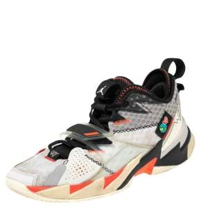 """Jordan White Leather and Mesh Why Not? Zer0.3 """"Unite"""" Low Top Sneakers Size 42.5"""