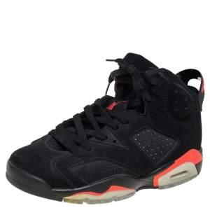 Air Jordan Black Nubuck Leather 6 Retro  Infrared  High Top Sneakers Size 41
