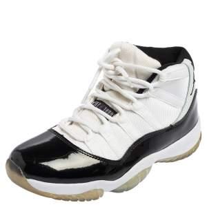 Air Jordan Black/White Fabric and Patent Leather Jordan 11 Retro Concord Sneakers Size 41