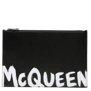 حقيبة صغيرة أليكساندر ماكوين مزين غرافيتي شعار الماركة جلد أبيض و أسود