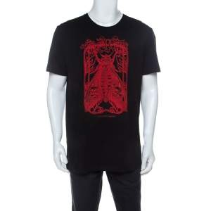 Alexander McQueen Black Cotton Moth Embroidered T-Shirt XXL