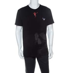 Alexander McQueen Black Skull Print Cotton Dancing Skeleton Embroidery T-Shirt M
