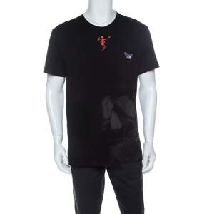 Alexander McQueen Black Skull Print Cotton Dancing Skeleton Embroidery T-Shirt XL