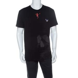 Alexander McQueen Black Cotton Butterfly Skull Embroidered T-Shirt M