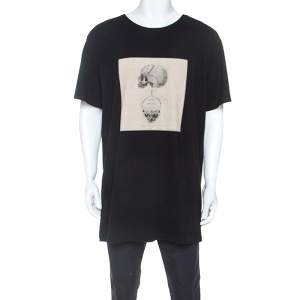 Alexander McQueen Black Double Skull Graphic Jersey T-Shirt XL