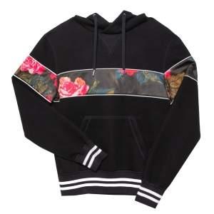 Alexander McQueen Black Neoprene Floral Panel Hoodie XS