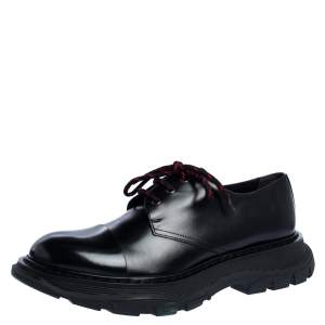 Alexander McQueen Black Leather Lace-Up Derby Shoes Size 45