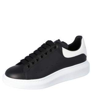 Alexander McQueen Black Leather Oversized Low Top Sneakers Size EU 41