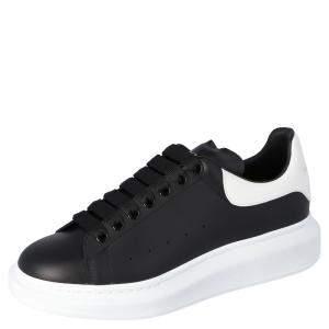 Alexander McQueen Black Leather Oversized Low Top Sneakers Size EU 41