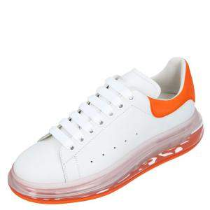 Alexander McQueen White/Orange Leather Oversized Clear Sole Sneakers Size EU 45