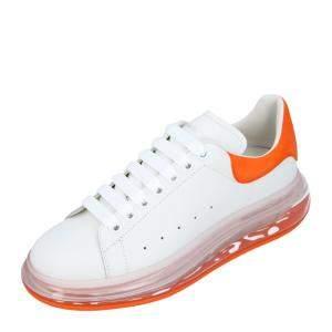 Alexander McQueen White/Orange Oversized Transparent Sole Sneakers Size EU 39